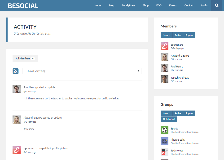 BESOCIAL-COMMUNITY FORUM WEB TEMPLATES