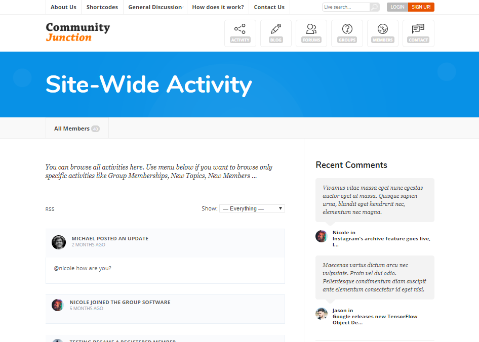 COMMUNITY JUNCTION-COMMUNITY FORUM WEB TEMPLATES