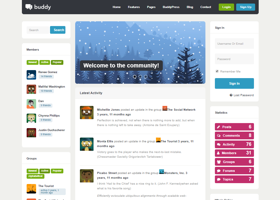 BUDDY-COMMUNITY FORUM WEB TEMPLATES