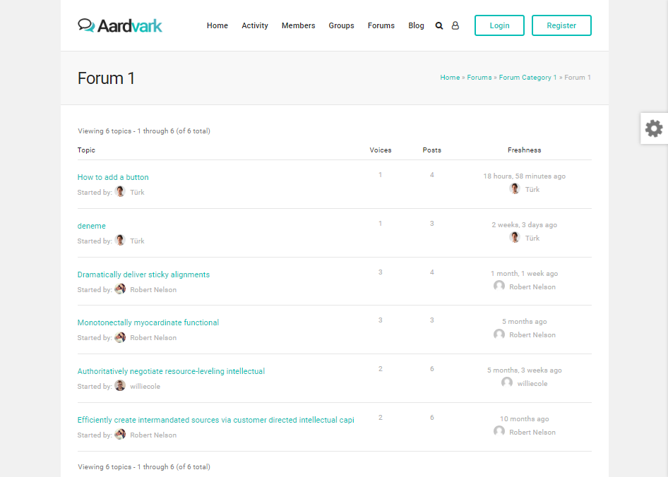 AARDVARK-COMMUNITY FORUM WEB TEMPLATES