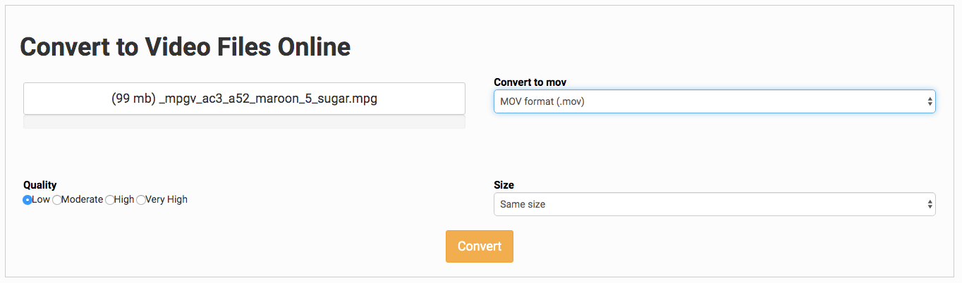 online mpg to mov converter mac 02- file conversion