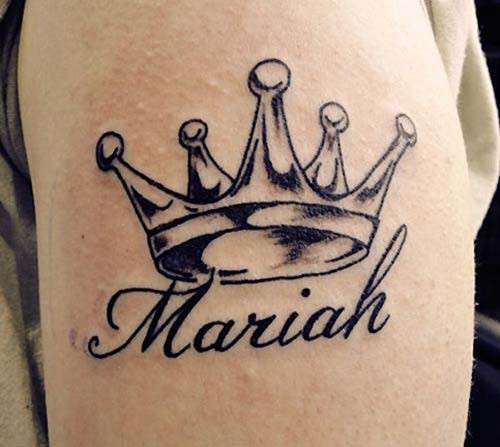 name tattoo with crown