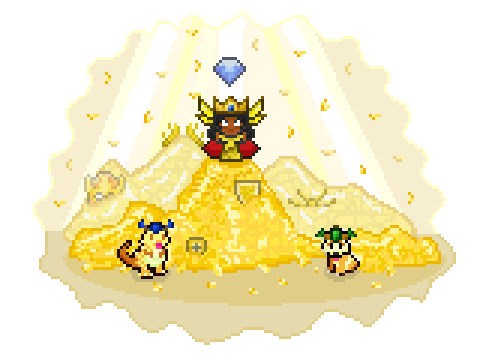 A hero sits on a pile of gold, surrounded by gold pets with a gold light shining on her from above.
