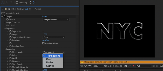 After Effects — Vegas Effects and Animating Text with Range Selectors