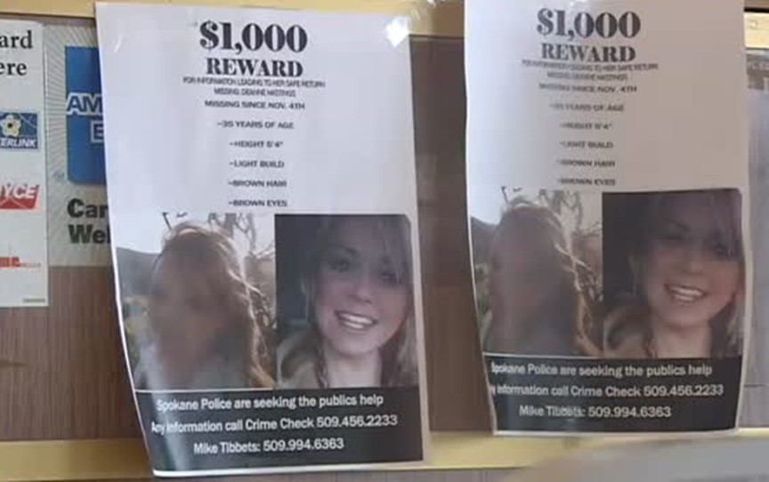 Missing person posters of Deanne Hastings, missing from Spokane, Washington, on November 3, 2015.