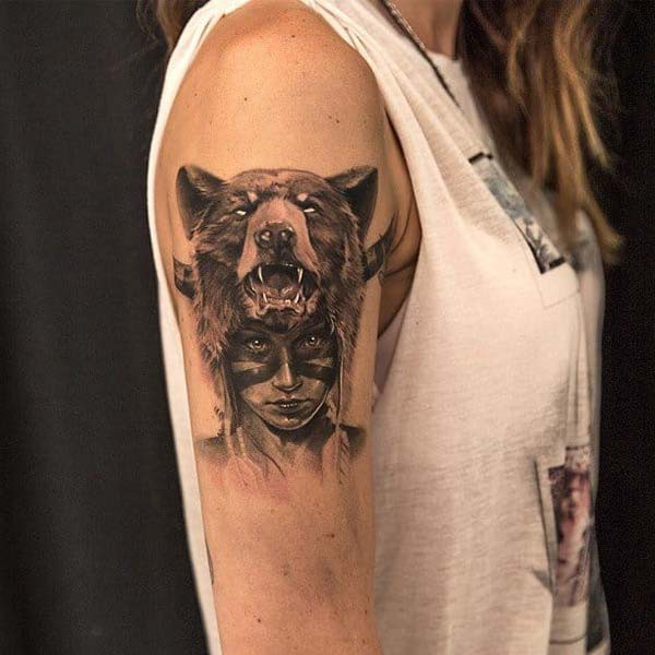tattoo of native woman and bear