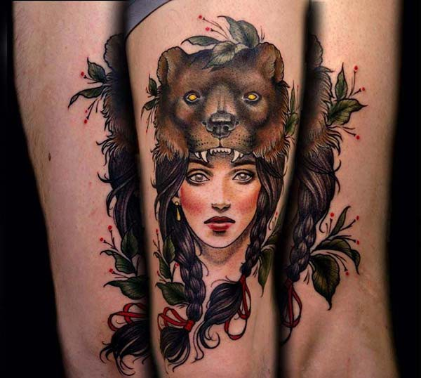 tattoo of indian woman and bear arm