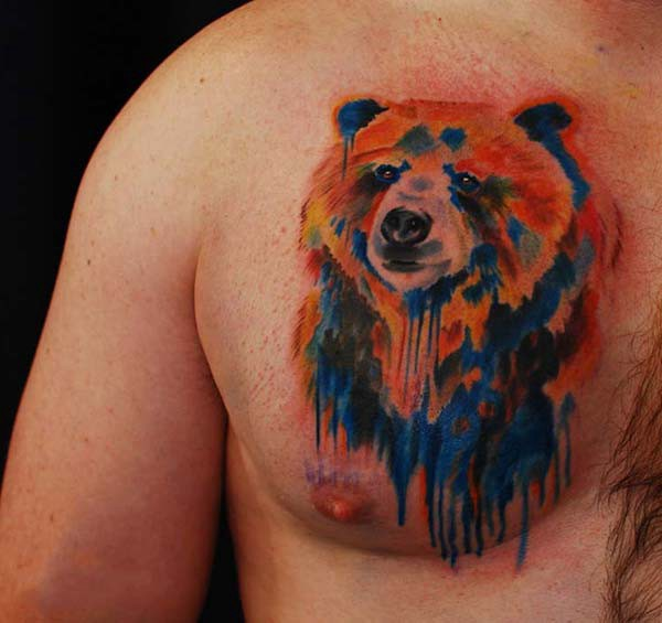watercolor bear tattoo chest