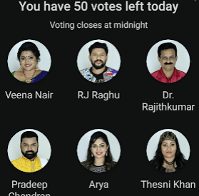 Bigg Boss Malayalam Season 2 Voting, Results and Eliminations