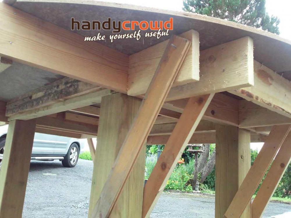 concrete base braced support wood fired pizza oven
