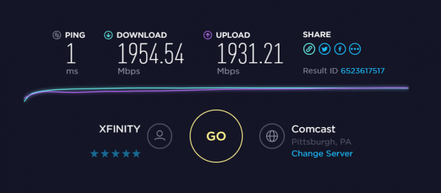 Comcast's 2000Mbit Fiber to the Home
