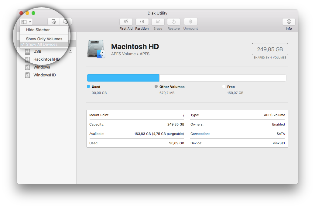 Screenshot of the ?Disk Utility? app when enabling the ?Show all devices? option