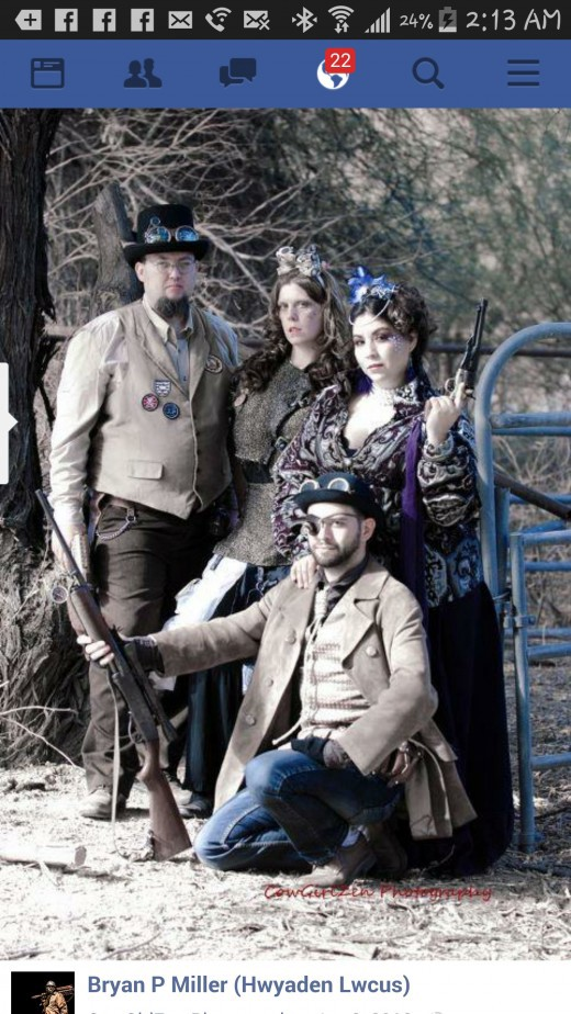 Bryan Patrick Miller and other Steampunk enthusiasts at professional photo-shoot in Apache Junction.