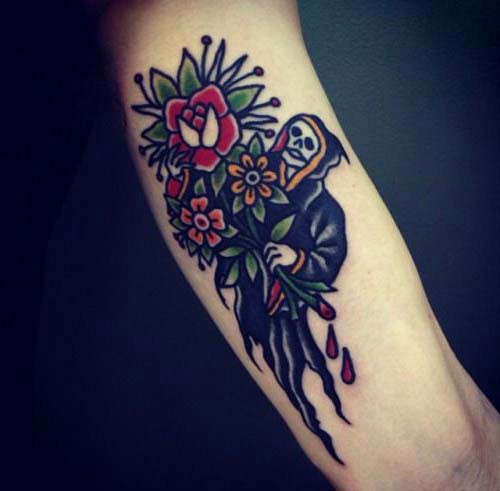 grim reaper tattoos with flower grim reaper tattoos with flower