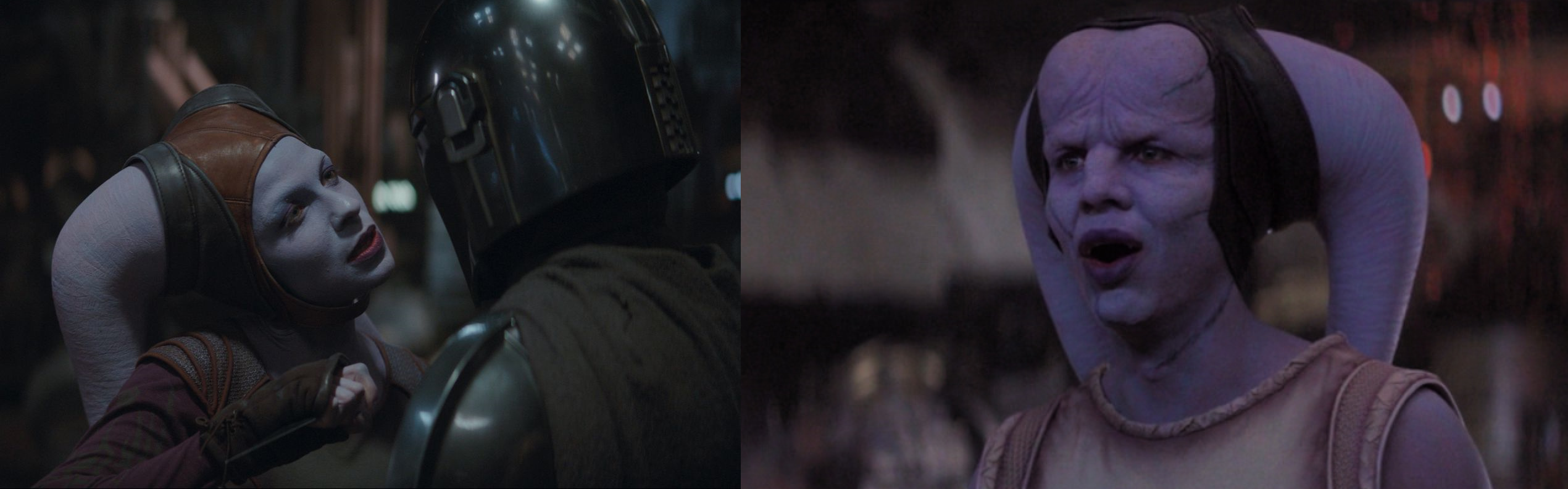 on the left, an image of Natalie Tena as Xian & the Mandalorian. On the right, Ismael Cruz Cordova as Qin.