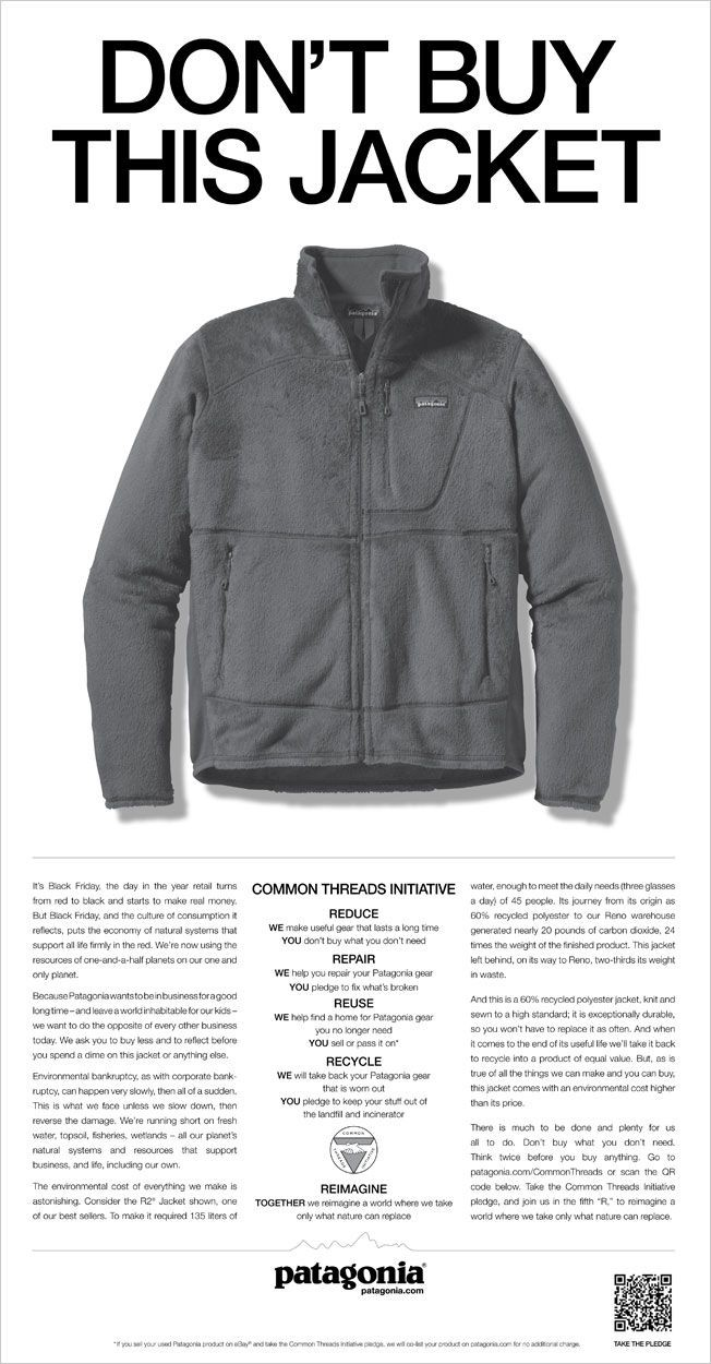 Image of a Patagonia?s ?don?t buy this jacket? advertisement