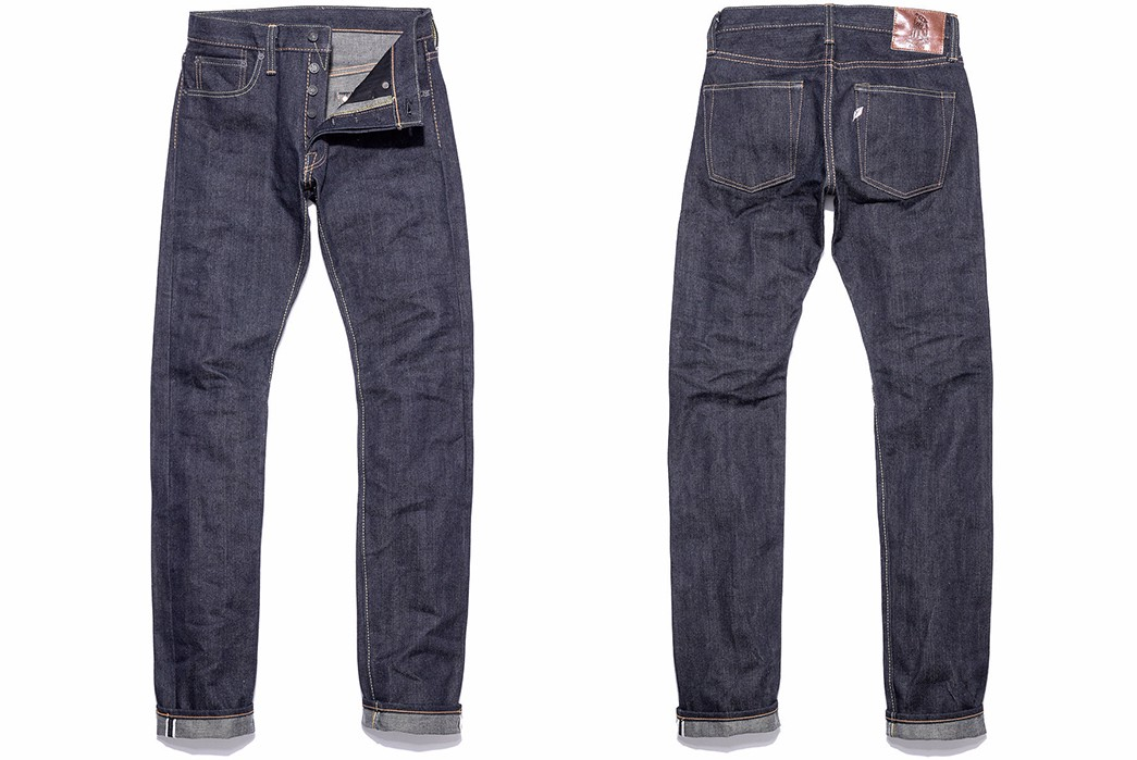 Pure Blue Japan 17oz-011 17 oz. left hand twill tapered jean fit