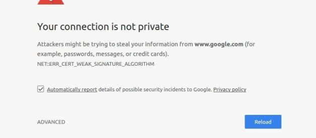 """Fix the privacy error in Chrome that says """"your connection is not private"""
