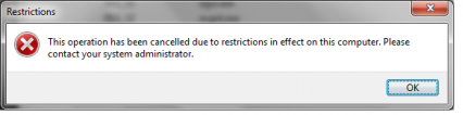 "Fix ""This operation has been cancelled due to restrictions in effect on this computer"" Error"