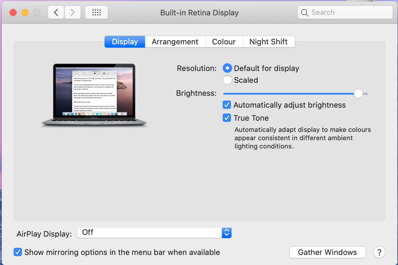 Screen shot of???Hold ?Option? then you will see Gather Windows become Detect Displays