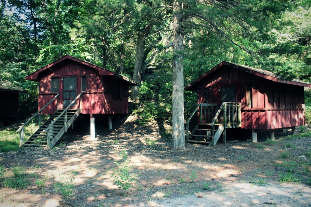 The now-abandoned Camp Scott is in a densely wooded location on 410 acres in Mayes County, Oklahoma.