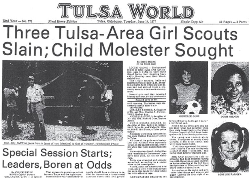 he June 14, 1977, edition of Tulsa World Newspaper with the Girl Scout Murders on the front page.