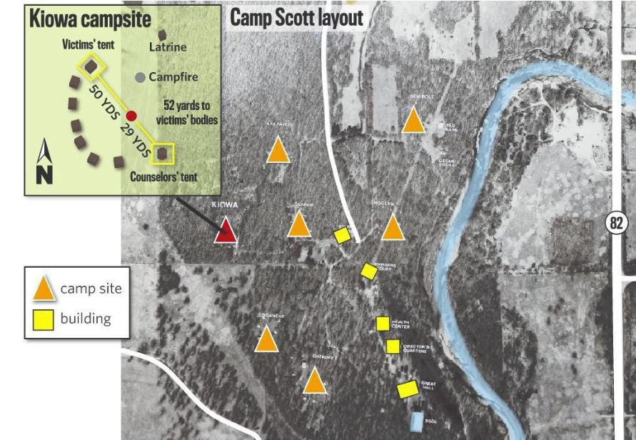 Camp Scott layout where the bodies of three Girl Scout were found on June 14, 1977 in Oklahoma.