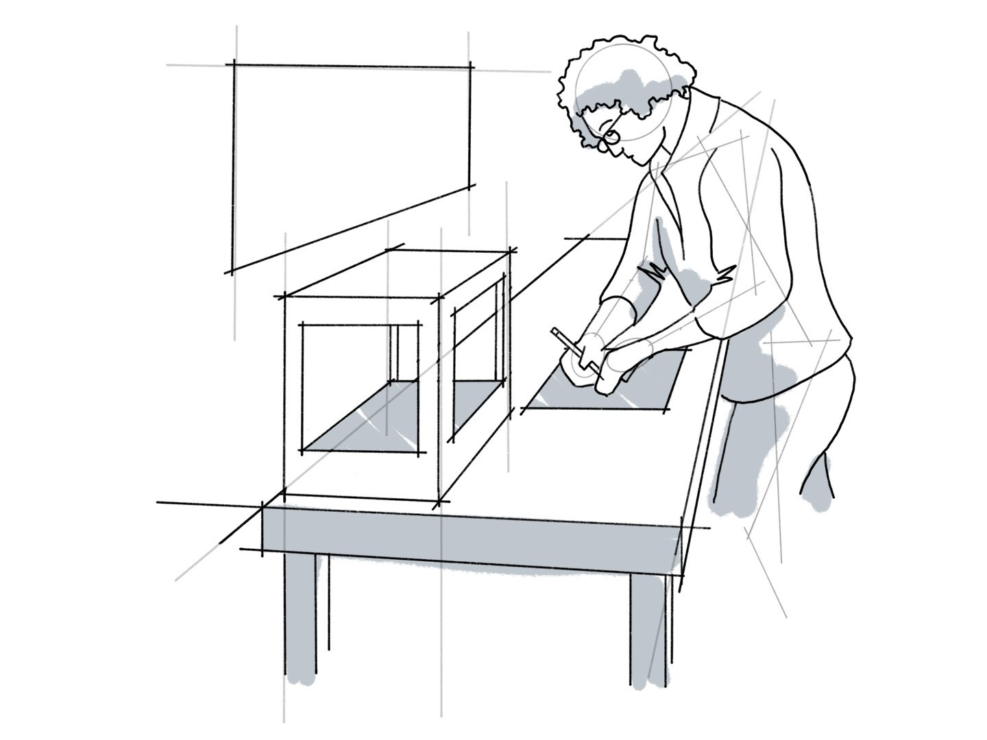 A line drawing of a person working at a workbench.