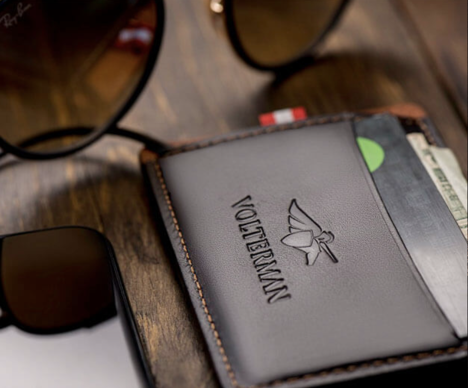 Volterman wallet closeup. Smart wallets with GPS tracking.