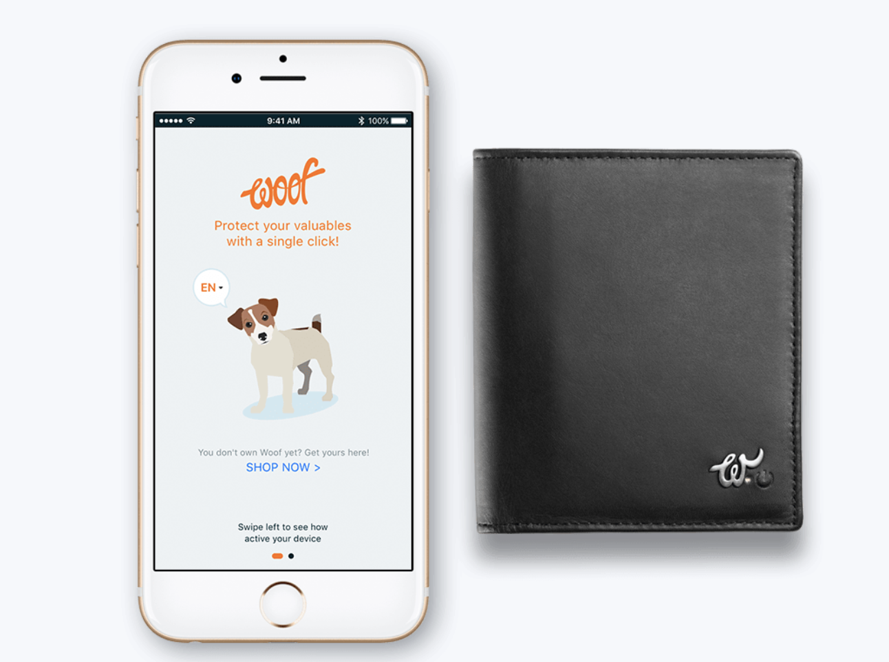 Woolet Woof Glow wallet. Smart wallets with GPS tracking.