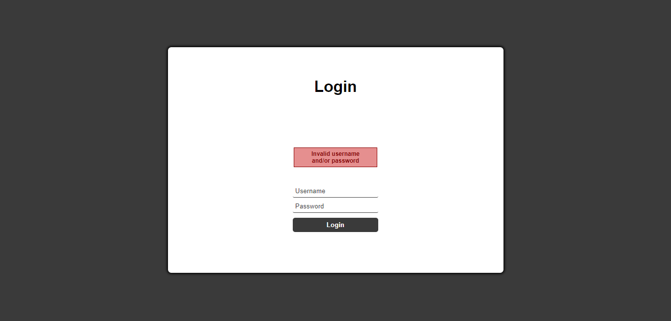 Login with invalid credentials