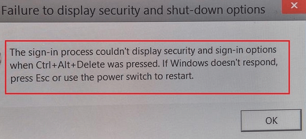How to Fix Failure to Display Security and Shut Down Options