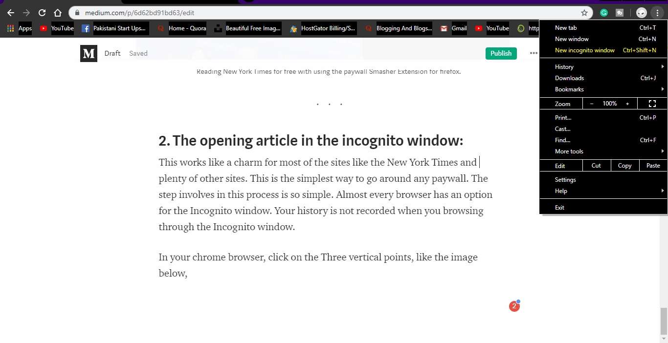 new incognito window to read articles for free of any newspaper