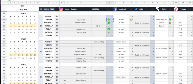 How To Plan Your Social Media in 2020 as an individual or small company — FREE Google Sheets Editorial Calendar Template
