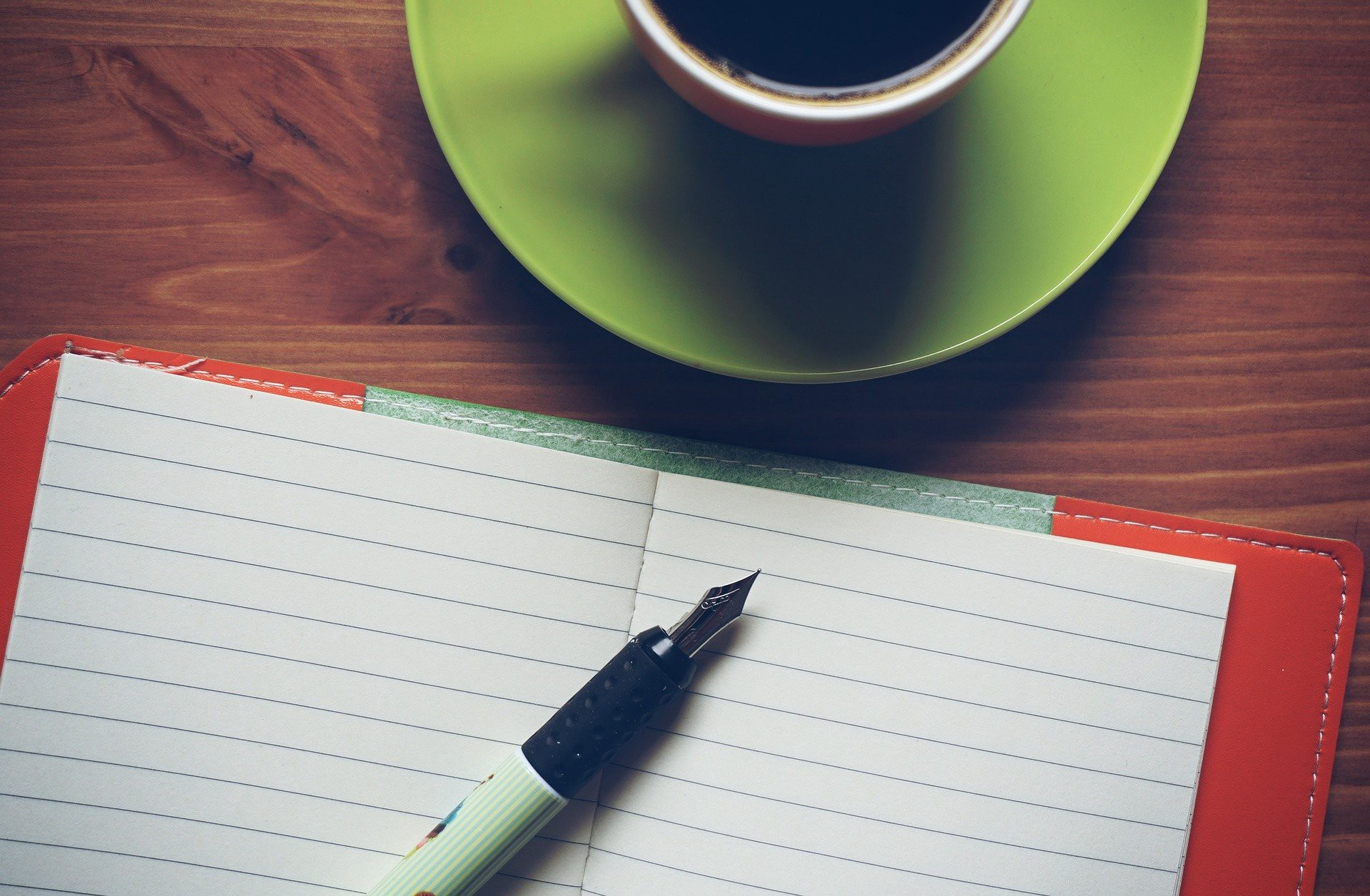 notepad and coffee