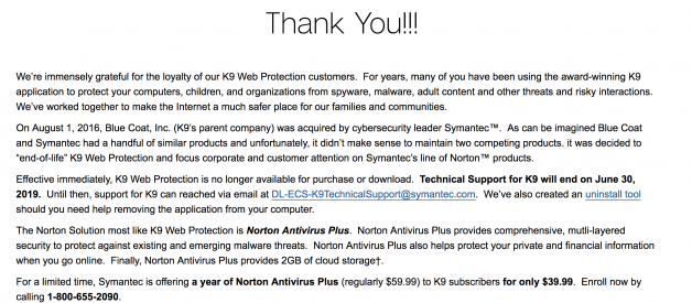 K9 Web Protection is shutting down