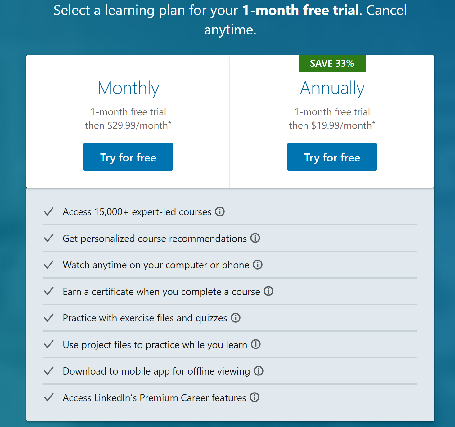 LinkedIn Learning price, cost, and plans