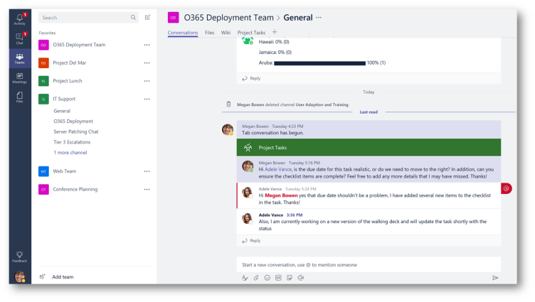 Example of Team messaging Microsoft Teams