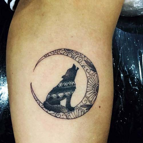 moon and wolf tattoos moon and wolf tattoos