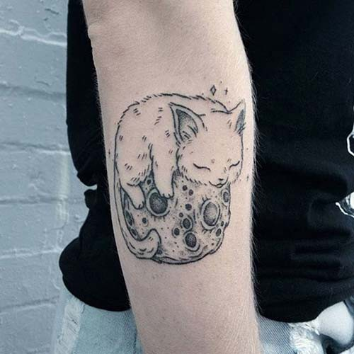 moon cute cat tattoos moon and cute cat tattoos
