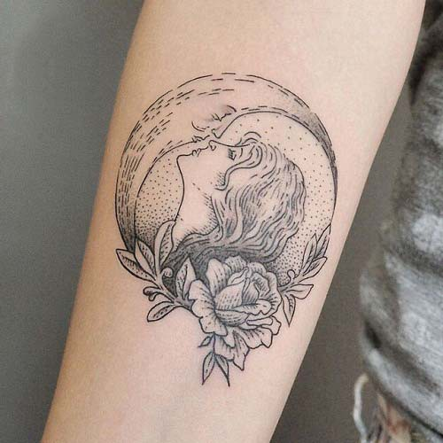 moon and woman tattoos