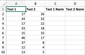 Normalizing Numerical Values in Excel