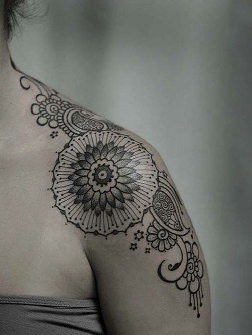 woman shoulder tattoos mandala style woman shoulder tattoos