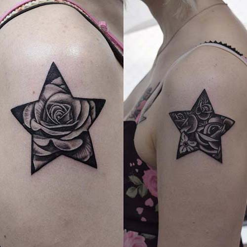rose star woman shoulder tattoos