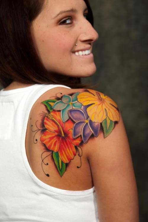 colorful flowers women shoulder tattoos colorful flowers woman shoulder tattoos