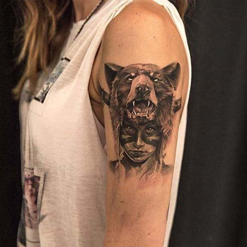 bear and girl woman shoulder tattoos