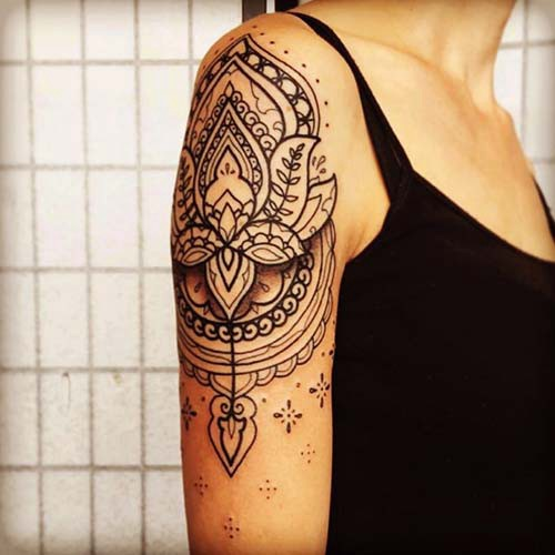woman shoulder tattoos mandala woman shoulder tattoos