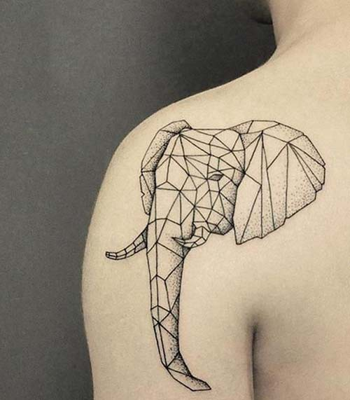 geometric elephant woman shoulder tattoos geometric elephant woman shoulder tattoos