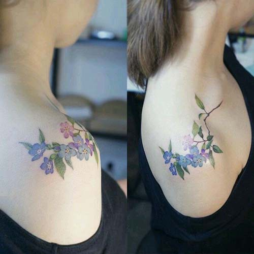 simple flower woman shoulder tattoos