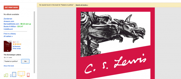 Screwtape's 'fixated on politics' quote, is not by C.S. Lewis